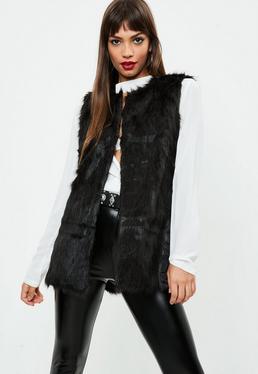 Black Ultimate Faux Fur Gilet