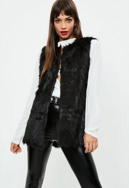 Black Ultimate Faux Fur Gilet