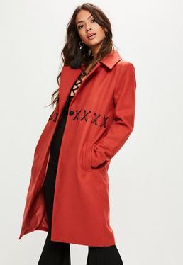 Orange Eyelet Detail Faux Wool Coat