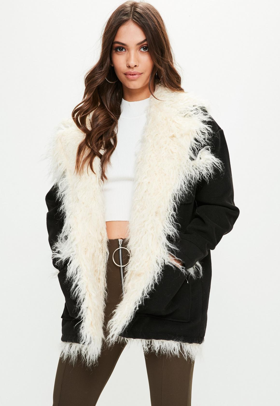 Black Mongolian Faux Fur Lining Coat | Missguided