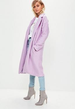 Abrigo largo de lana sintética en lila