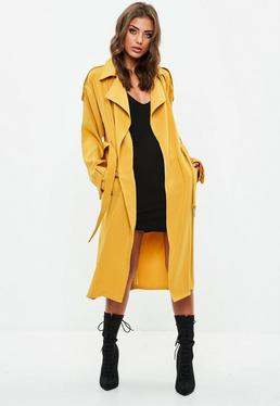 Yellow Bonded Crepe Trench Coat