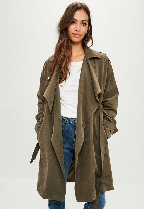 khaki waterfall trench coat missguided. Black Bedroom Furniture Sets. Home Design Ideas