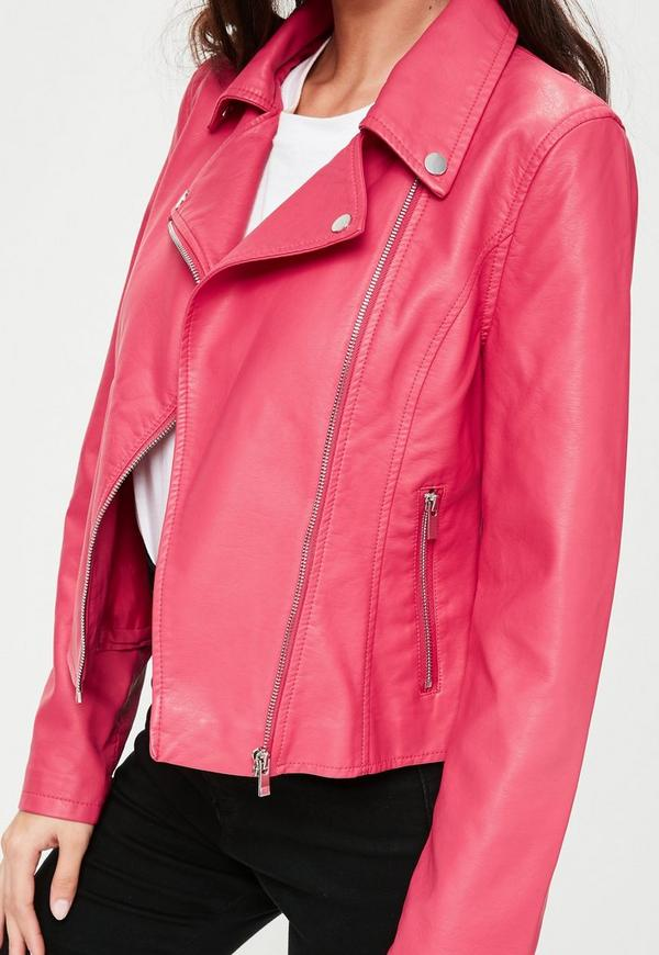 Pink Faux Leather Biker Jacket   Missguided