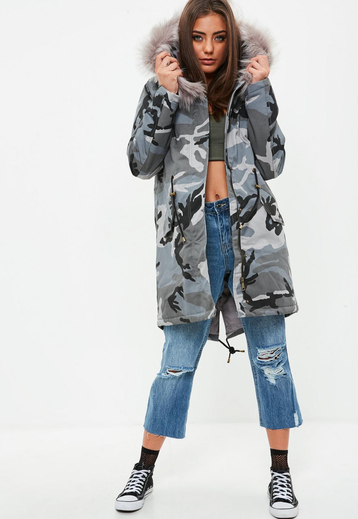 Grey Camo Faux Fur Trim Hooded Parka Coat | Missguided