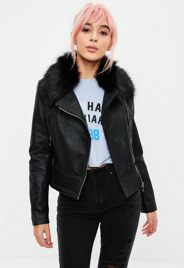 Black fur collar washed biker jacket missguided for Lack fur kuchenschranke