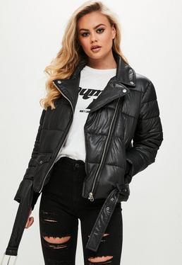 Black Puffer Biker Jacket