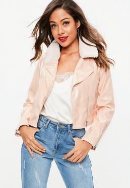 Różowa winylowa kurtka Biker