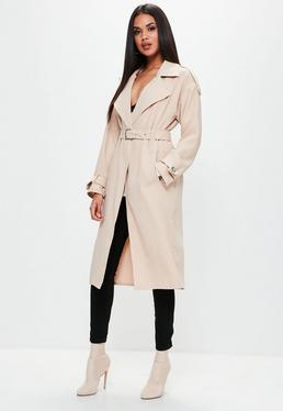 Nude Bonded Crepe Trench Coat
