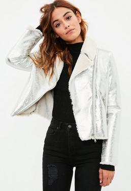Silver Cracked Metallic Biker Jacket