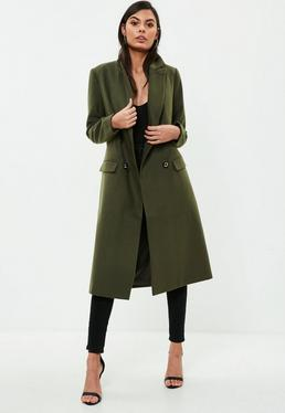 Khaki Faux Wool Military Coat