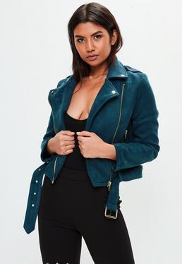 Blue Bonded Suedette Biker Jacket