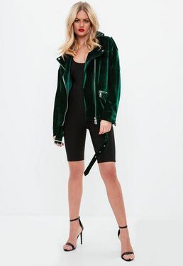 Green Textured Velvet Jacket