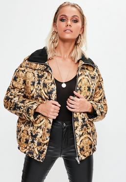 Black Printed Puffer Jacket
