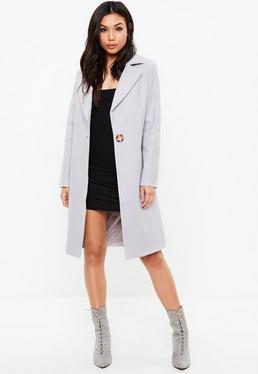 Abrigo largo de lana sintética en gris