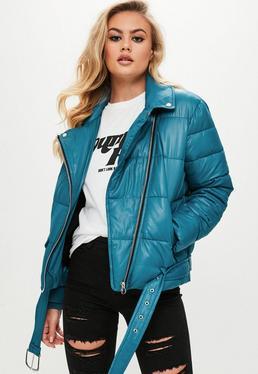 Blue Puffer Biker Jacket