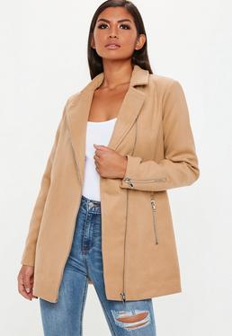 Abrigo biker de lana sintética en marrón
