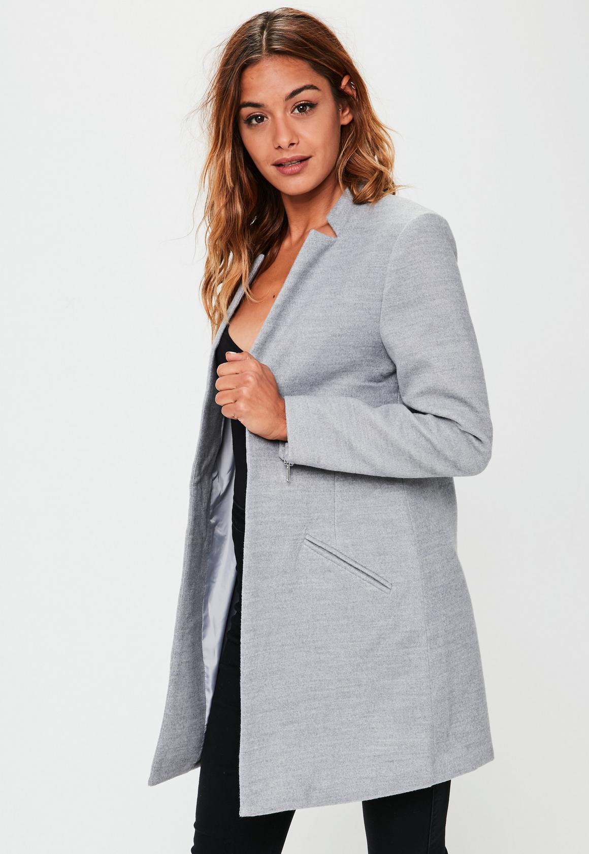 Grey Inverted Collar Short Formal Coat | Missguided Ireland