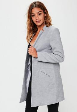 Grey Inverted Collar Short Formal Coat