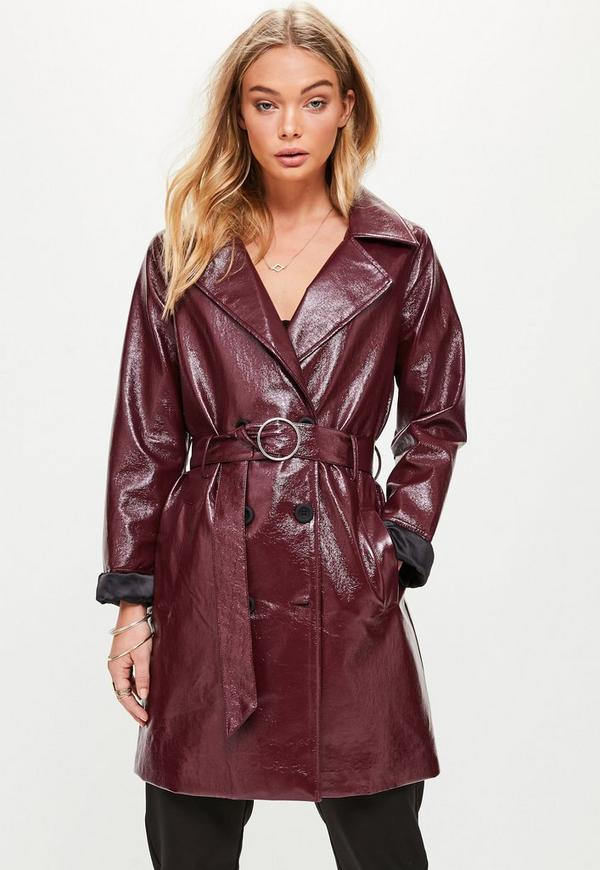 Burgundy Vinyl Trench Missguided