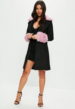Black Formal Coat With Pink Fur Collar And Cuff