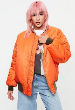 Orange Oversized Padded Bomber