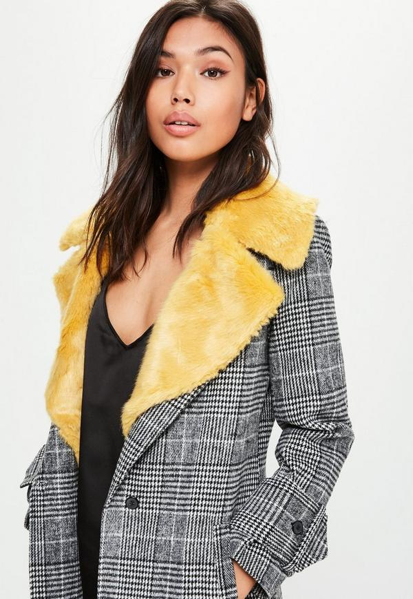 Black Faux Fur Collar Check Coat | Missguided