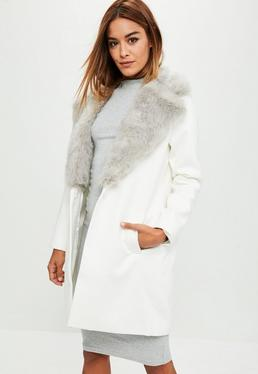White Extreme Faux Fur Short Wool Coat