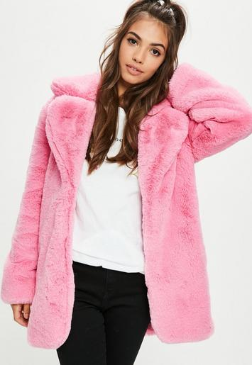 Pink Faux Fur Coat With Collar Missguided