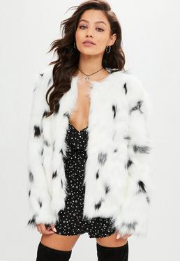 White Snow Leopard Faux Fur Coat