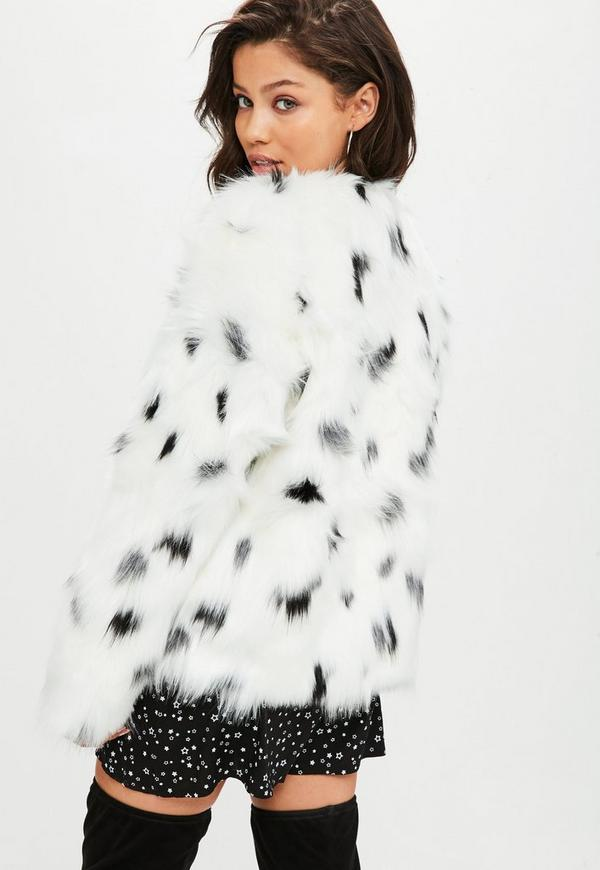 Glamorous Shawl Collar Coat In Snow Leopard Faux Fur