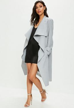 Grey Oversized Waterfall Duster Coat