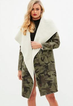 Khaki Camo Shearling Waterfall Jacket