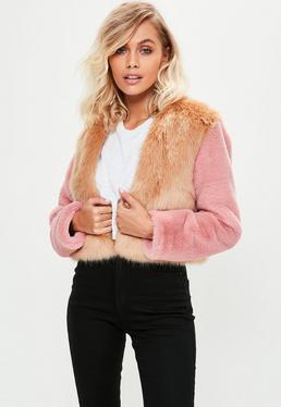 Brown Faux Fur Cropped Coat
