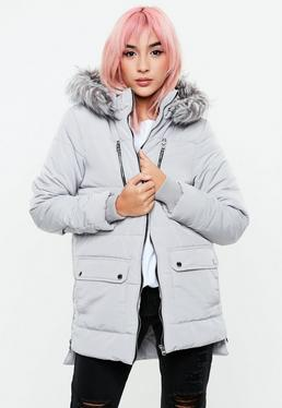 Gray Zip Detail Faux Fur Hooded Parka Jacket