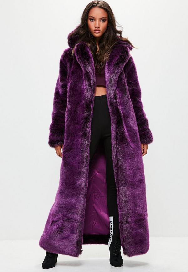 Londunn Missguided Purple Faux Fur Coat Missguided