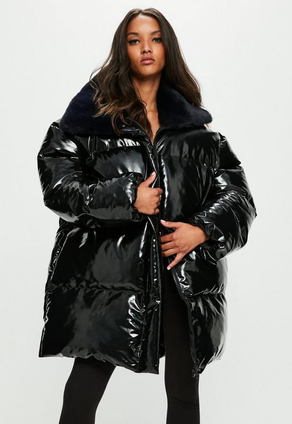 Londunn Missguided Black Vinyl Padded Jacket Missguided