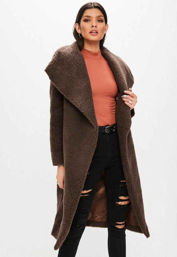Brown Waterfall Teddy Coat | Missguided
