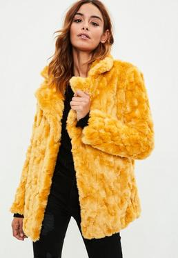 Mustard Yellow Vintage Faux Fur Longline Coat