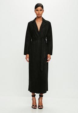 Peace + Love Czarny zamszowy długi płaszcz