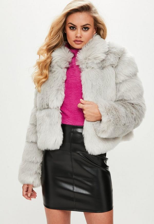 Grey Faux Fur Cropped Coat | Missguided