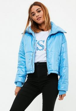 Blue High Shine Cropped Puffer Jacket