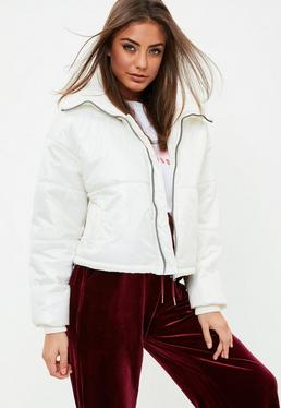 White High Shine Cropped Puffer Jacket
