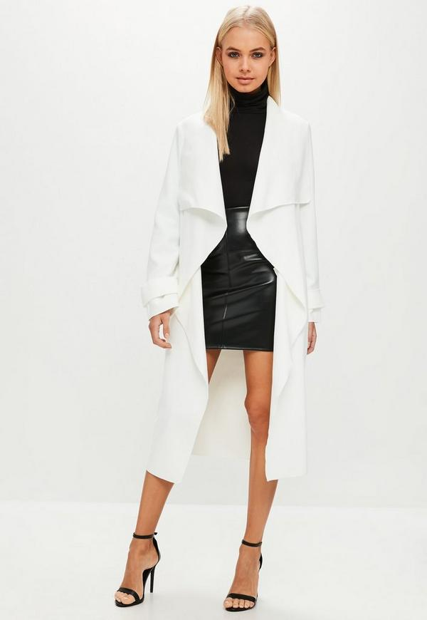 White Oversized Waterfall Duster Coat Missguided