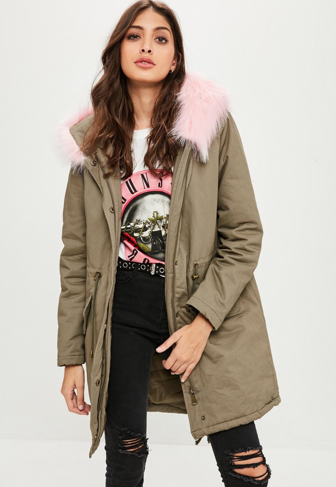 Khaki Faux Fur Trim Parka Coat | Missguided