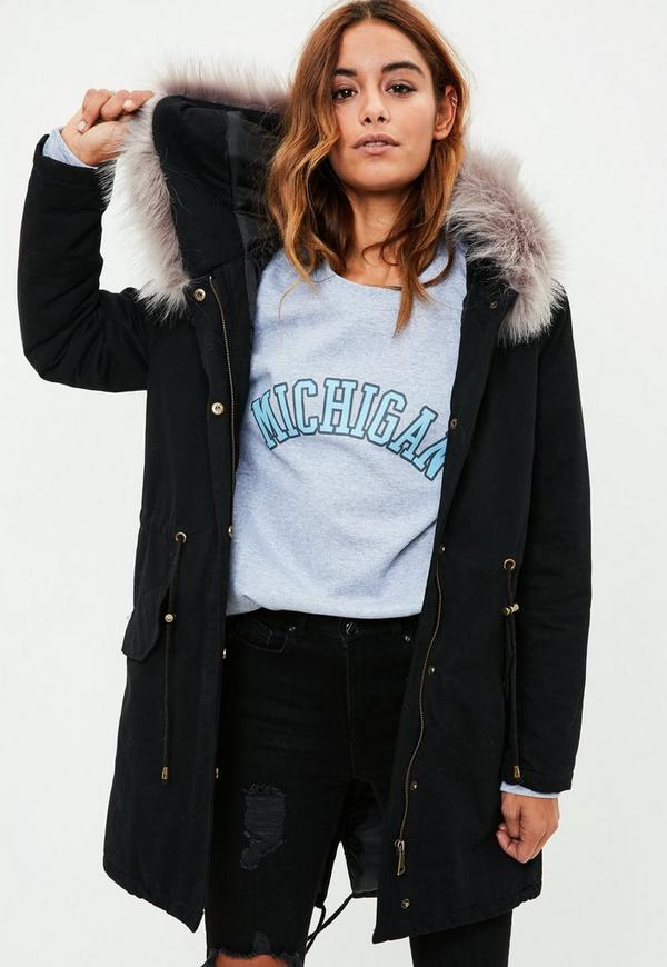 Black Fur Trim Parka Coat | Missguided