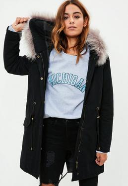 Black Fur Trim Parka Coat
