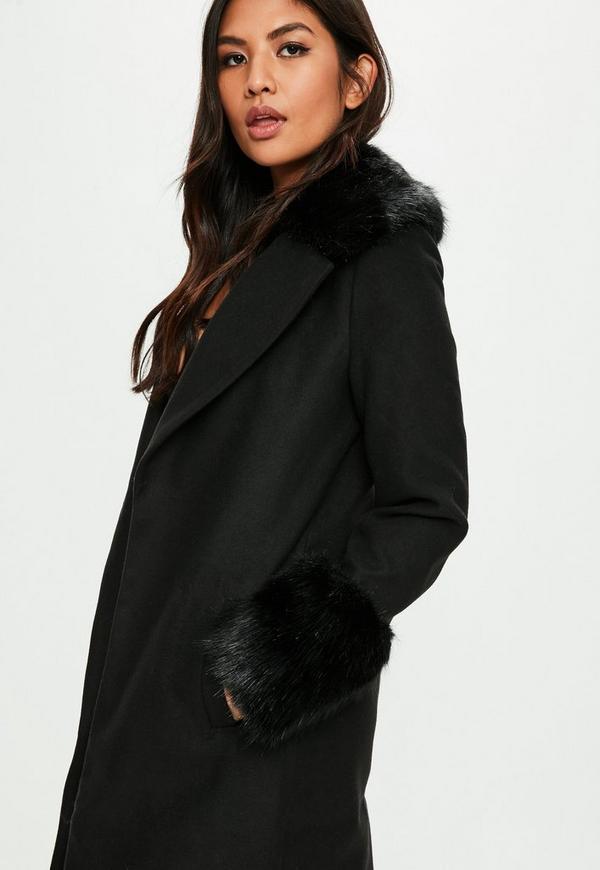 Black coat with fur collar hood