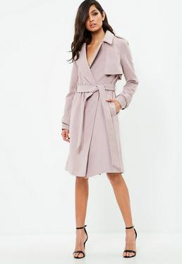 Mauve Formal Belted Trench Coat