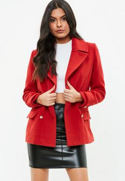 Red Military Peacoat Jacket